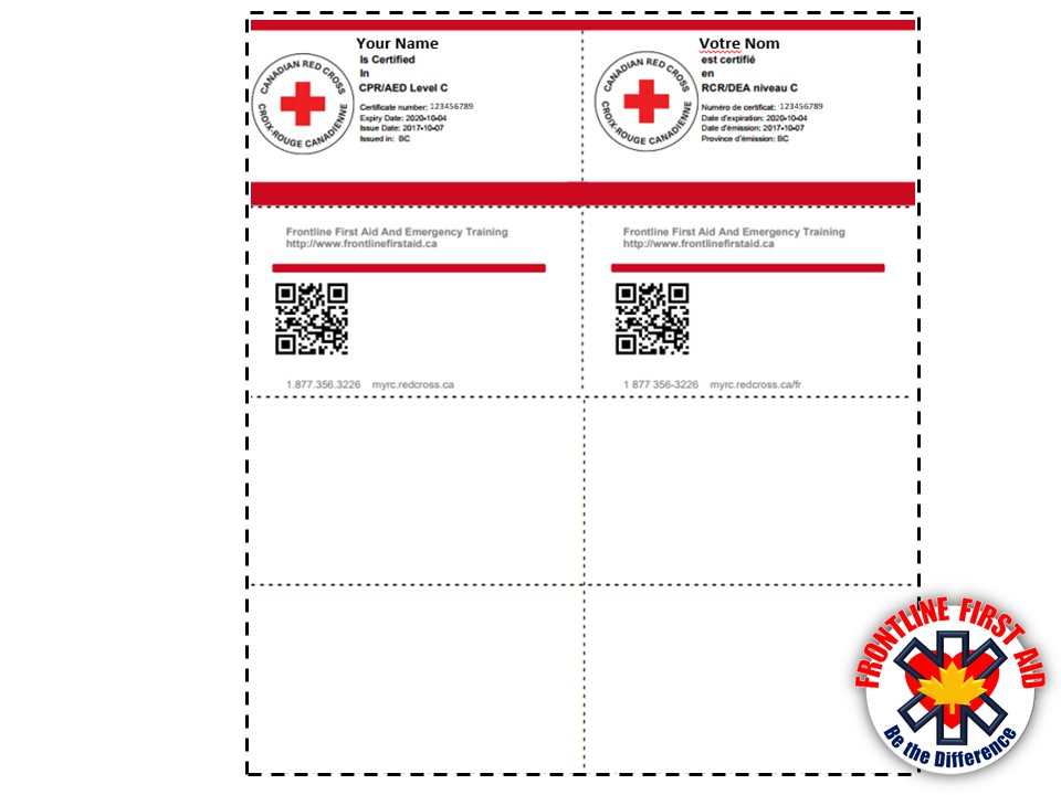 photograph relating to First Aid Cards Printable named How in direction of purchase a Replica of your Certification - KELOWNA To start with Support