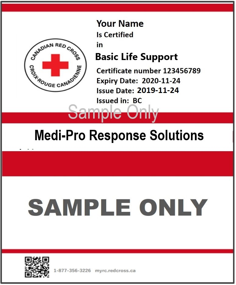 Canadian Red Cross CPR HCP Certification. Sample CPR-AED Certificate