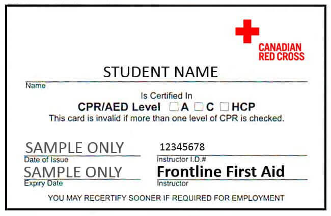 Kelowna Canadian Red Cross CPR C Certificate